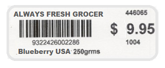 Grocery Barcode Label